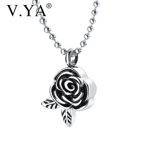 V.YA DIY name Stainless steel necklaces rose shape pendant waterproof necklace Perfume bottle pendant Anniversary accessories