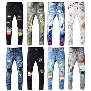 Mens Biker Jeans Skinny Slim Fit Elastic Denim Jeans estiramento Zipper Ripped Destruído Buraco Calças Splice Patches Hip Hop calças compridas