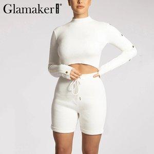 Glamaker camiseta de manga larga de las mujeres de cultivos conjuntos ocasional del verano y pantalones cortos de moda streetwear sudor blanco trajes cortos de 2 piezas conjunto