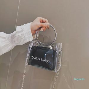 Designer- Femmes PVC Sac transparent Fashion Square clair Sac besace femme Crossbody petite chaîne gelée anneau Sacs à main poignée