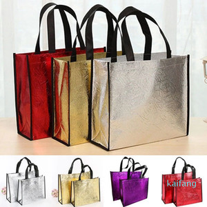 Wholesale-Fashion Laser Shopping Bag Foldable Eco Bag Large Reusable Shopping Bags Tote Waterproof Fabric Non-woven Bag No Zipper Hot Sale