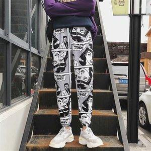 Брюки мужской Beam Foot шаровары Комиксов Printed Повседневных Пары бегуны штаны дизайнер Hiphop Мода Streetwear Мужской