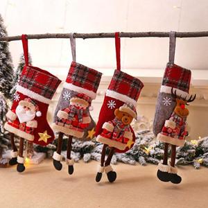 Natale Plaid Calze ornamento Albero di Natale della bambola del fumetto pendenti di Babbo Natale Camino pendenti di simpatici regali di Natale