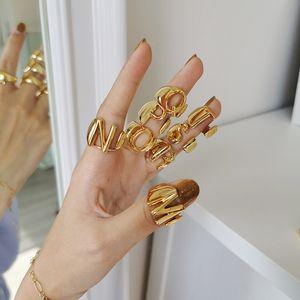26 A-Z Englisch Anfangs Ring Silber Gold offene Bandringe Retro englische Buchstaben Ringe Frauen Modeschmuck wird und Sand Geschenk