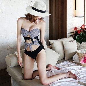 Prezzo speciale un pezzo di supporto in acciaio bikini sexy bikini Sling hppj5 riuniti aderente cinghia costume da bagno moda personalizzata plaid coreana