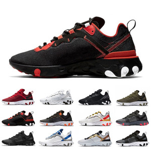 Script React élément 55 Hommes chaussures de course solaire Rouge React 55s or métallisé Triple noir femmes bleu coutures scellées hommes formateur de baskets de sport
