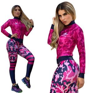 المرأة الخريف رياضية 2 قطعة مجموعة الرياضة النسائية مجموعات كم طويل سابغة للياقة البدنية عارضة الركض بنطال رياضة زيبر البدلة