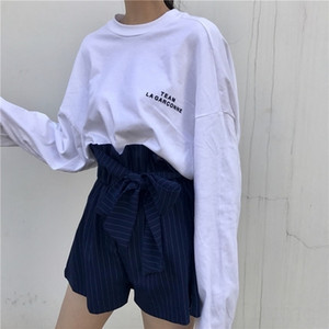 cf7IX Spring white long-sleeved T- women's base trendy new Korean loose style Underpants- T shirt casual shirt letter style