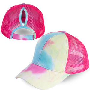 Hot Sale Women Summer Tie Dyed Ponytail Baseball Cap Back Open Hat Summer Long Hair Beauty NET Hat