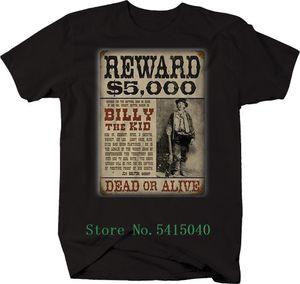 T-shirt stampata oversize Mens 2019 Abbigliamento Hot Billy The Kid Reward poster Bank Robber maglietta Tee Shirt personalizzata Fumetti Uomo