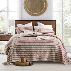 CHAUSUB Stripe Quilt Set Cotton Quilts For Bed Bedspread 3pcs Washed Quilted Bed Cover Sheets Coverlet Queen Size Summer Blanket