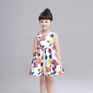 Baby Flower Printing Sleeveless Pincess Vest Full Dress Clothes kids dresses for Girls fancy and stylish July23