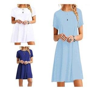 Kleid Designer Female Plus Size Short Hülsen-loses Minikleid Damen Freizeit Boho Strand kleidet Mode-Trend der Sommer-Frauen-Rundhalsausschnitt-Party