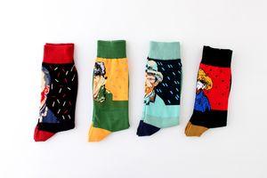 Fashion celebrity print socks super cool art work oil painting socks for men long style winter warm crew hot sale