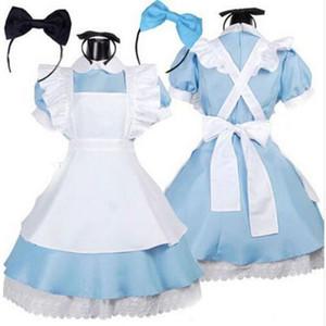 Halloween Women Adult Anime Alice Adventure Blue Party Dress Alice Dream Women Sissy Maid Lolita Cosplay Costume C0927