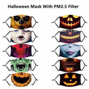 Máscara de Halloween 3D reutilizables máscara pintura mueca de calabaza algodón de la cara reutilizable protector PM 2.5 Filtros de carbono Máscaras lavable para adultos cabritos cara