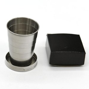 400 pcs Stainless Steel Portable Outdoor Travel Camping Folding Foldable Collapsible Cup 75ml with Key Ring SN1690
