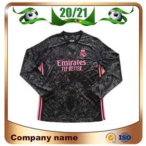 20/21 Manches longues Real Madrid N ° 7 Dazard Troisième Jersey de football 2020 Ramos Modric Asensio Shirts ISCO Vinicius JR Football Uniforme
