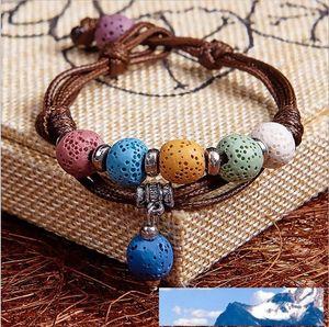 Fashion Bohemian Lava Stone Multicolor Bracelets Bangles For Women Jewelry Silver Plated Essential Oil Diffuser Bracelet