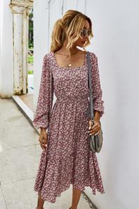 Elegant Women Full Sleeve Dress Fashion Autumn Elastic Waist O-Neck Print A-line Party Vestidos Casual Dresses For Female 203033