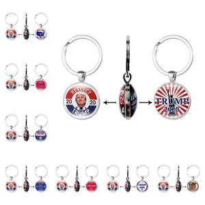 fashion Trump Keychain President 2020 Double Side Key Chain USA Flag Make America Great Again Pendant Car Key buckle Party Favor T2I51358