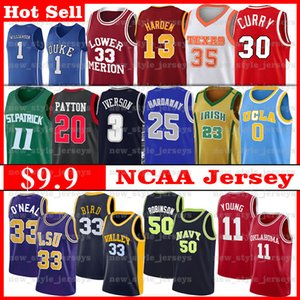 NCAA LSU Tigers Jersey Shaquille O'Neal MARINE Sooners Hardaway Jeune 11 Trae Marquette Dwyane Wade Eagles d'or Iverson Basketball Maillots