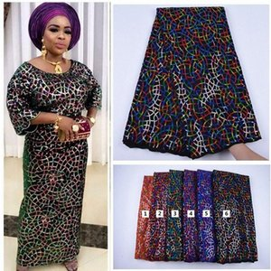 2020 2020 New Design Velvet With Sequins African French Velvet Lace Fabric High Quality Nigerian Velvet Lace Fabric For Garment JcnK#