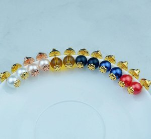 6Colors real banhado a ouro pérola Popular brincos Marca Hot Sale Stud carta brincos