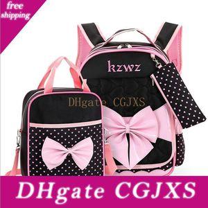 Vieeoease Girls School Bag Children Backpack 2018 Fashion Cute Bow Polka Dot Bag With Handbag Lunch Bag Ee -771