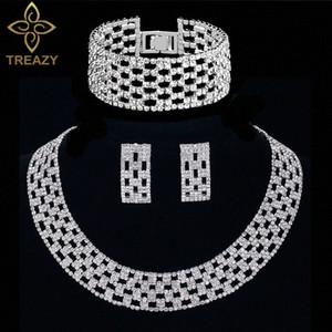 TREAZY Crystal Fashion nupcial Declaração Conjuntos de Jóias Gargantilha Colar Brincos Bracelet para as Mulheres casamento Africano Jóias Define F2aZ #