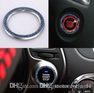 Moda SUV Bling Pratik Araç Dekoratif Mavi Düğme Başlangıç Anahtarı Elmas Yüzük Oto Aksesuarları CCA9428 300pcs