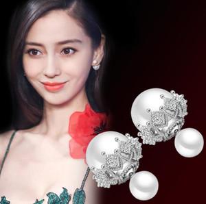 Boucles d'oreilles plaquées en argent sterling S925 avec des boucles d'oreilles de concepteur en dentelle double perle de cristal avec bijoux en pierre de diamant CZ pour mariage