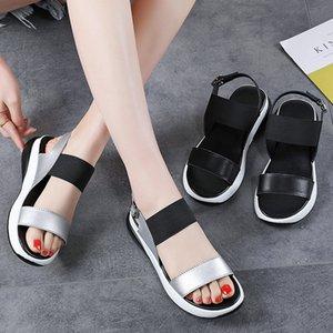 Weideng Deri Toka Kalın Sole Elastik Kumaş Moda Kadınlar Sandalet Sigara Slipshock Soğurma Casual Artış Yaz 4cm Ayakkabı