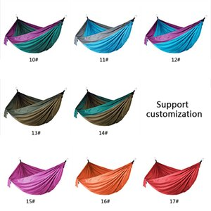 44 Colors Nylon Hammock With Rope Carabiner 106*55 inch Outdoor Parachute Cloth Hammock Foldable Field Camping Swing Hanging Bed BH1338-1 BC
