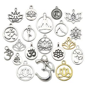 Mücevher Boyun Bileziği Yapımı için Toptan Gümüş Karışık Yoga OM Lotus Çiçeği Stiller Charms Pandantifle DIY