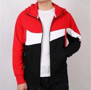 Nike nike NK nike Mode automne capuche vestes de sport Hommes Marque coupe-vent Patchwork Zipper Casual Manteaux Vêtements d'extérieur Vestes active Hotsale rouge