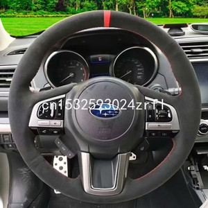 For SUBARU Forester XV outback Legacy 2019 DIY Black Suede car steering wheel cover