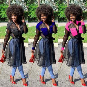 Womens Diseñador Bandge de vestir de manga larga atractiva del vestido artesonado Red de otoño del resorte Vestidos de partido del vestido del lápiz