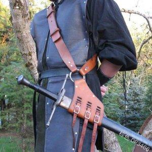 Medieval Retro Schultergurt Schwerthalter Mantel Scabbard Frosch Larp Ritter-Kostüm-Gang Rapier Ring Gürtelholster Cosplay