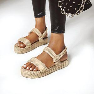 2020 Новое лето женщин плоские сандалии Rope Женский пляж обувь Клин обувь Высокий каблук Удобная платформа сандалии Sandalia Feminina