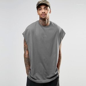 Hiphop Mens High Street Свободные футболки мужские конструктора рукавов Tshirts вскользь втулки летучей мыши Летние топы