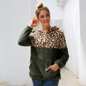 Women Sherpa Hoodies Sweatshirts Autumn Winter Patchwork Leopard Furry Hoodie Double-sided Plush Hooded Sweater Warmer Tops NEW E82002