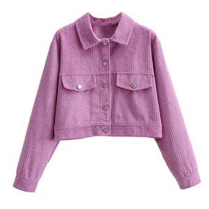 Veste de jaquette Femme Jacket Courte Denim Veste avec boutons Automne Hiver Outwear Chear Codiffois Rose Couleur Taille S M L
