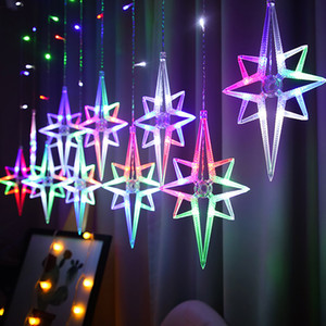 Led Polaris Fairy Licht Schnur-Licht-Girlande-Stern Garland Fenster Vorhang Innenhauptdekoration Halloween-Feiertag Wedding Licht