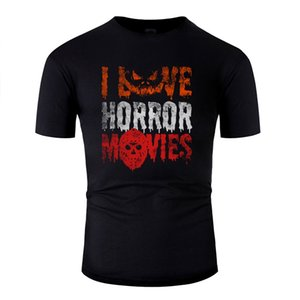 Customize Fashion I Love Horror Movies Pumpkin T Shirt Hipster Comics Men And Women Tshirts White Short Sleeve