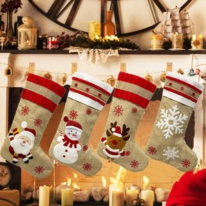 DHL Shipping Christmas Stockings Santa Reindeer Snowman with Snowflake Socks Xmas Tree Hanging for Kids Children Christmas Party Gift B196F