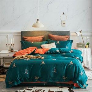 42 bedding sets birds feather duvet cover set Flat sheet Pillowcase Queen king size bedding set egyptian cotton bed linens
