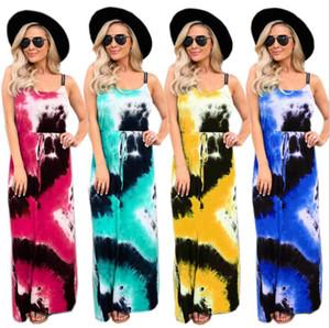 Femal Kleider Frauen Maxi Tie Dye-Kleid gedruckte Strumpf Lange Kleider Summer Fashion ärmel lose beiläufige Dreesses Frauk LSK684