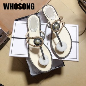 Pantofole donna donna Pearl donna Scarpe da Ragazze strass Flats nero Femmina Marca diapositive Zapatos De Mujer 2020