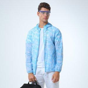 Мужчины Тонкий Солнцезащитный куртка с капюшоном Comouflage Быстросохнущий Мужская ветровка Солнцезащитный Пальто Мужской Легкие ткани на открытом воздухе Путешествия Жакеты
